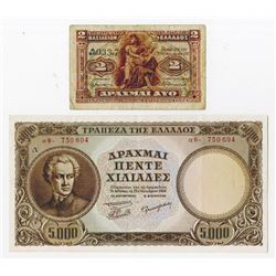Bank of Greece. 1917-1950. Pair of Issued Banknotes.