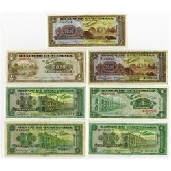 Banco De Guatemala. 1949-1971. Septet of Issued Notes.