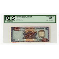 Banco De Guatemala ND (1964-71) Specimen Banknote.