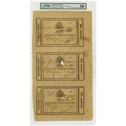 Republique d'Haiti, 1827 First Issue, 10 Gourdes Uncut Sheet of 3 Notes.