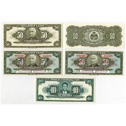 Banque Nacionale de la Republique d'Haiti. 1970-80's. Quintet of Specimen & Proof Notes.