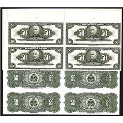 Banque De La Republique D'Haiti, Law of 1979, Uncut Pair of Face and Back Proof Sheets of 4.