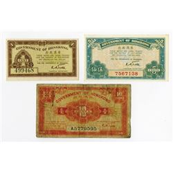 Government of Hong Kong. ND (1941). Trio of Issued Notes.