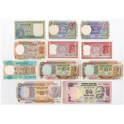 Government & Reserve Bank of India. 1940-2010's. Assortment of Issued Notes including Serial #1 to #