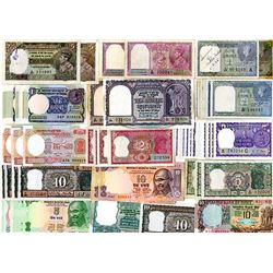 India Lot of 56 Notes from King George VI Issues to Modern Ghandi Issues.
