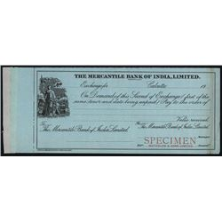 Mercantile Bank of India, Limited, 1900-1920 Waterlow & Son Specimen Bill of Exchange.