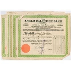 Anglo-Palestine Co. Ltd., 1936-1946 Group of 5 Cancelled Share Certificates