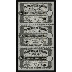 Banco Di Napoli, 1867-70 Fedi Di Credito - Regular Cash Receipts Issue Sheet of 3 Unmarked Specimens