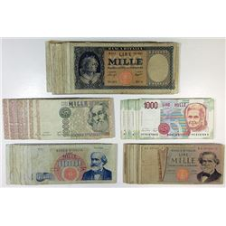 Banca d'Italia. 1947-1990. Group of 60+ Issued Notes.