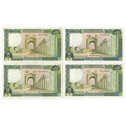 Banque du Liban. 1988. Quartet of Issued Banknotes.