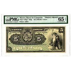 Banco de Campeche, ND (1903-09) Face Proof.