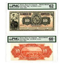 Banco de Campeche, ND (1903-06) Face & Back Proof Pair