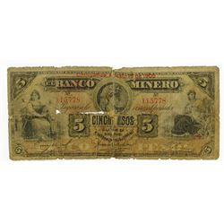 Banco Minero. 1905. Issued Banknote.