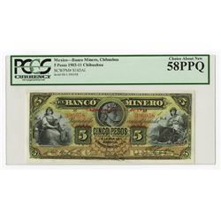 Banco Minero. 1911. Issued Banknote.
