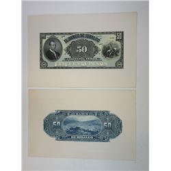 Banco De Hidalgo, 190x, 1902-09 Banknote Proofs.