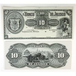 Banco de Jalisco. ND (1902-1914). Matching Face & Back Progress Proof Pair.