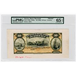 Banco Mercantil de Veracruz, ND (1898) Unique Approval Proof Banknote.