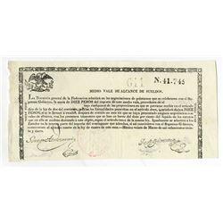 Tesoreria General de la Federacion. 1839. Issued Circulating Bearer Bond.