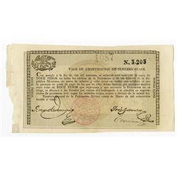 Tesoreria General de la Federacion. 1849. Issued Bearer Bond.