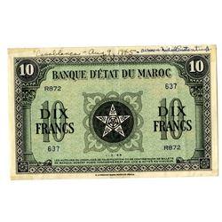"Banque d'Etat du Maroc, 1944, Wartime Issued ""Short Snorter"""