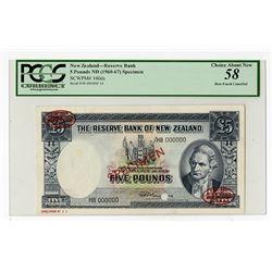Reserve Bank of New Zealand, ND (1960-67) Specimen Banknote.