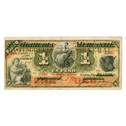 La Tesoreria General. 1896. Issued Banknote.