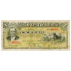 Republica de Nicaragua. 1900. Issued Banknote.