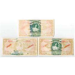 Banco Nacional de Nicaragua. 1927. Trio of Experimental Specimen Banknotes.