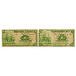 Banco Nacional de Nicaragua. 1939-1941. Pair of Issued Banknotes.