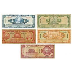 Banco Nacional de Nicaragua. 1959. Issued Banknote Quintet.