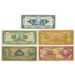Banco Nacional de Nicaragua. 1960. Issued Banknote Quintet.