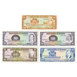 Banco Central de Nicaragua. 1978. Issued Banknote Quintet.