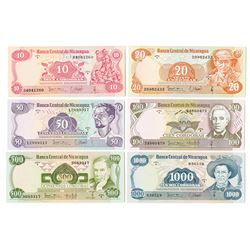 Banco Central de Nicaragua. 1979. Issued Banknote Sextet.