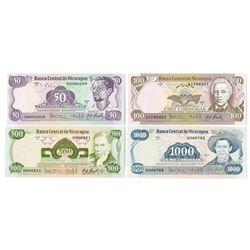 Banco Central de Nicaragua. 1985. Issued Banknote Quartet.