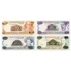 Banco Central de Nicaragua. 1987. Issued Banknote Quartet.