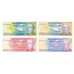 Banco Central de Nicaragua. 1989-1990. Issued Emergency Banknote Quartet.