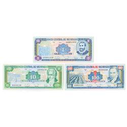 Banco Central de Nicaragua. 1990. Issued Banknote Trio.