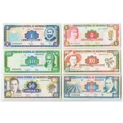 Banco Central de Nicaragua. 1995-1996. Issued Banknote Sextet.