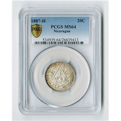 Nicaragua. 1887. High Grade Issued Silver Coin.