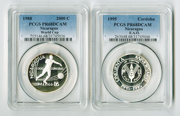 Nicaragua 1988 1995 Pair Of Silver Proof Coins