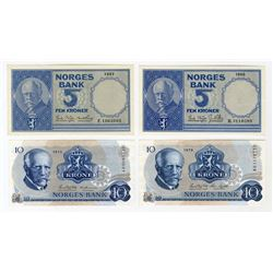 Norges Bank. 1957-1979. Quartet of Issued Banknotes.
