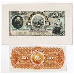 Banco Nacional del Paraguay. 1886. Matching Front and Back Proofs.