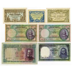 Banco de Portugal & Casa da Moeda. 1917-1960. Septet of Issued Notes