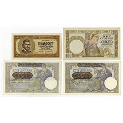 Sprska Narodna Banka. 1941-1942. Quartet of Issued Notes.