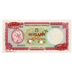 Banca Nazionale Somala. 1966. Specimen Note.