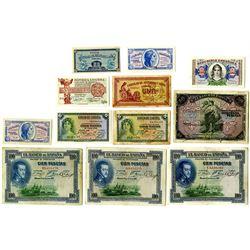 Banco de EspaÐa & Others. 1906-1938 Issued Note Assortment.
