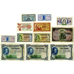 Banco de EspaÐa & Others. 1906-1938 Issued Note Assortment.