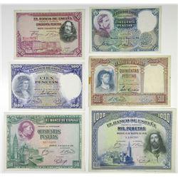 Banco de EspaÐa. 1928-1931. Set of 6 Issued Banknotes.