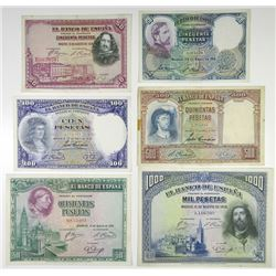 Banco de EspaÐa. 1928-1931. Set of 6 Issued Banknotes.