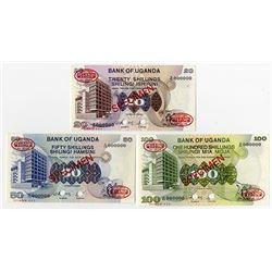 Bank of Uganda, 1979, Trio of Specimen No. 001 Banknotes.